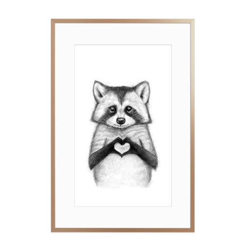 Raccoon with heart Gerahmt