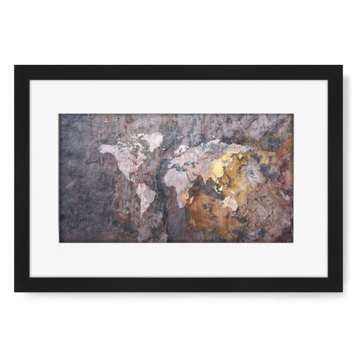 World Map on Stone Background Gerahmt