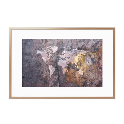World Map on Stone Background Gerahmt