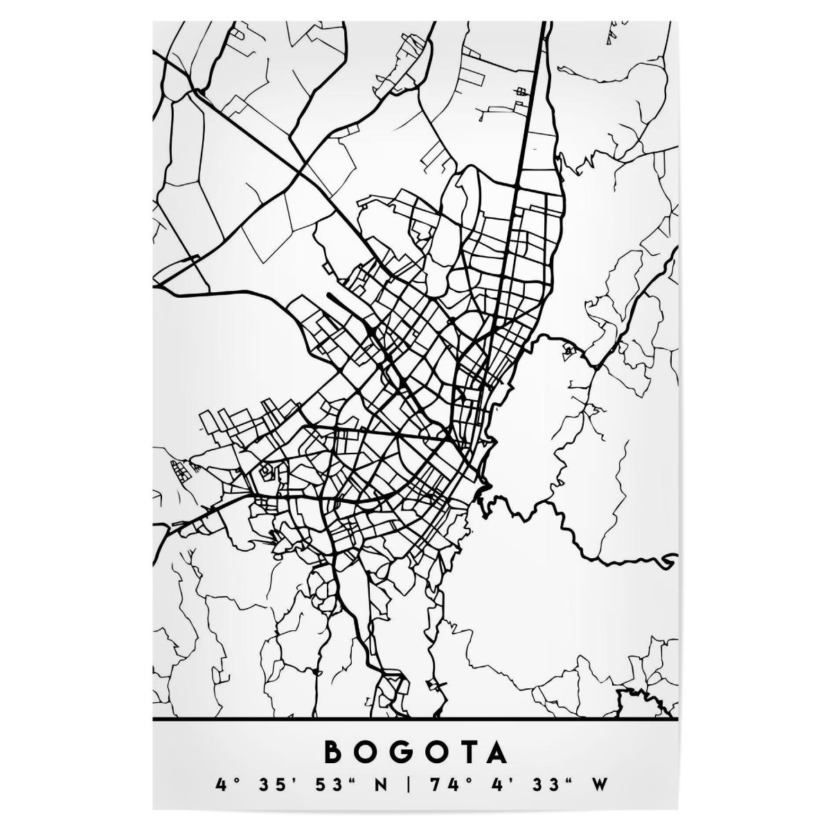 BOGOTA COLOMBIA BLACK CITY MAP als Poster bei artboxONE kaufen