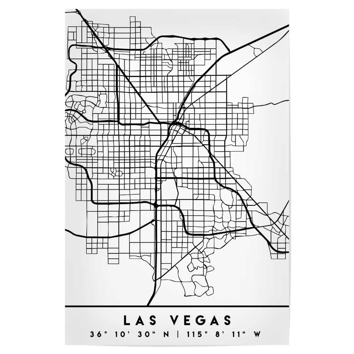 LAS VEGAS NEVADA BLACK CITY MAP als Poster bei artboxONE kaufen