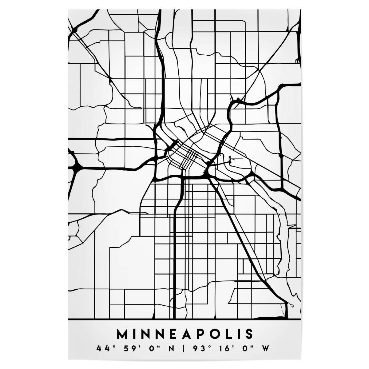 MINNEAPOLIS MINNESOTA CITY MAP als Poster bei artboxONE kaufen