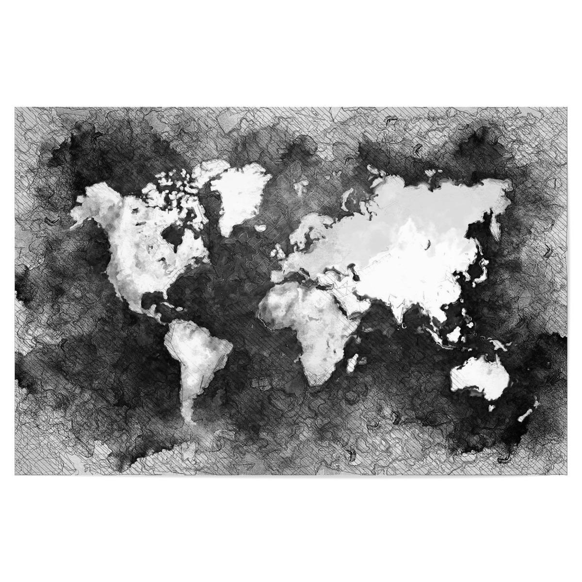 World map black white als Poster bei artboxONE kaufen